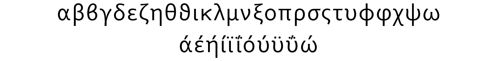 <p>Greek lowercase</p> glyphs