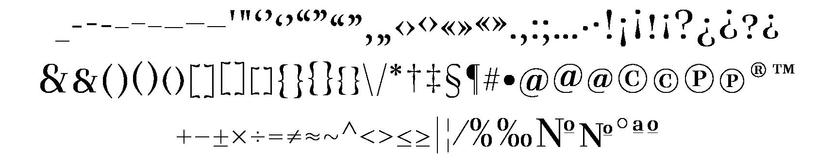 <p>Punctuation &amp; symbols<br /></p> glyphs