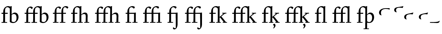 <p>Ligatures & swash elements</p> glyphs