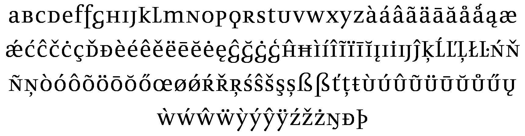 <p>Unicase</p> glyphs