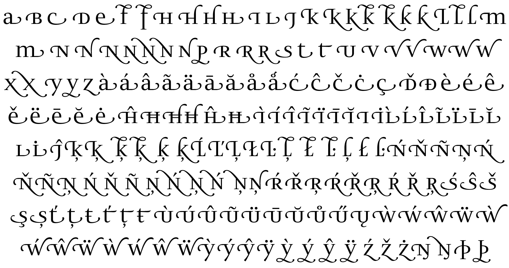 <p>Swash forms</p> glyphs