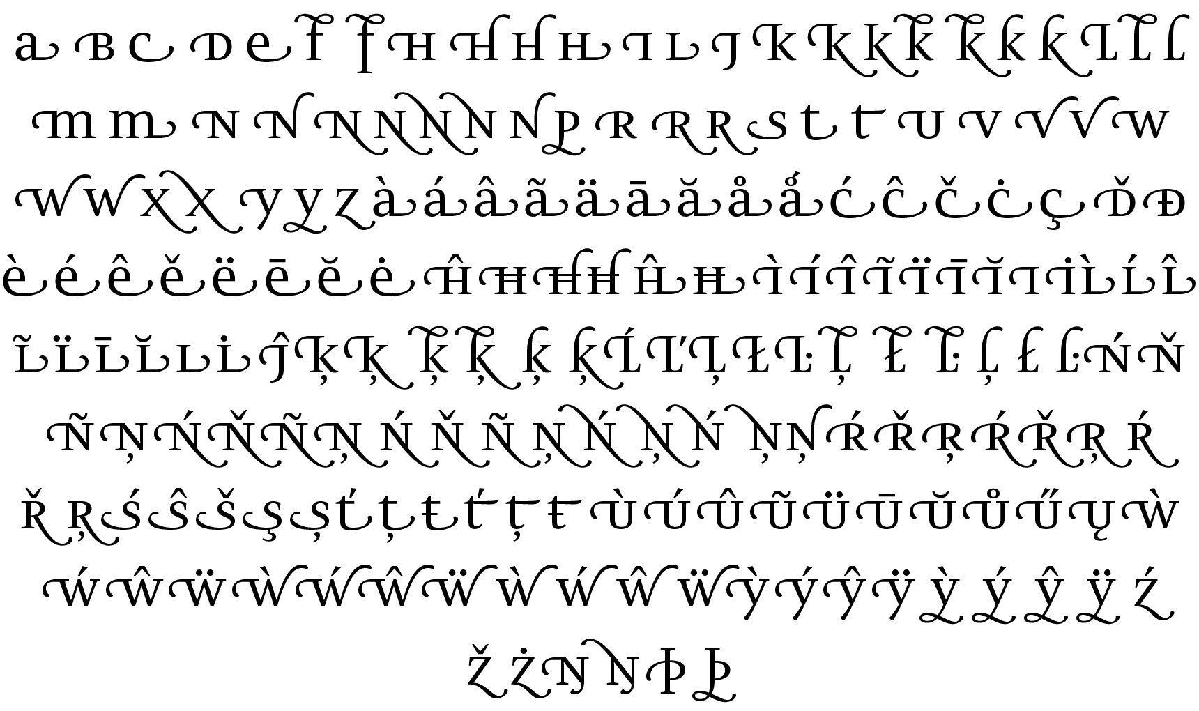 <p>Swash forms</p> glyphs