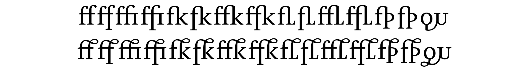 <p>Ligatures</p> glyphs