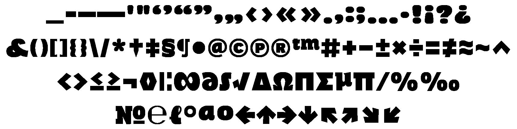 <p>Punctuation & symbols</p> glyphs