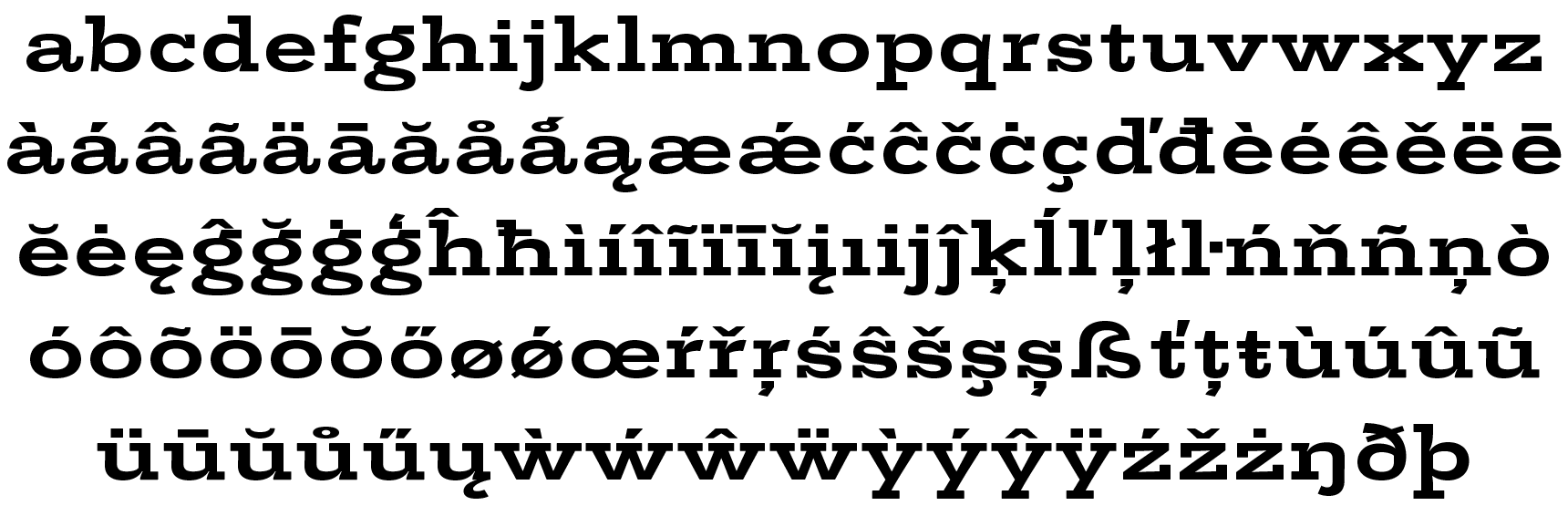 <p>Lowercase</p> glyphs