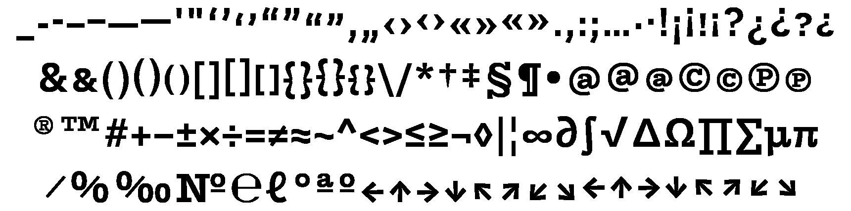 <p>Punctuation &amp; symbols</p> glyphs