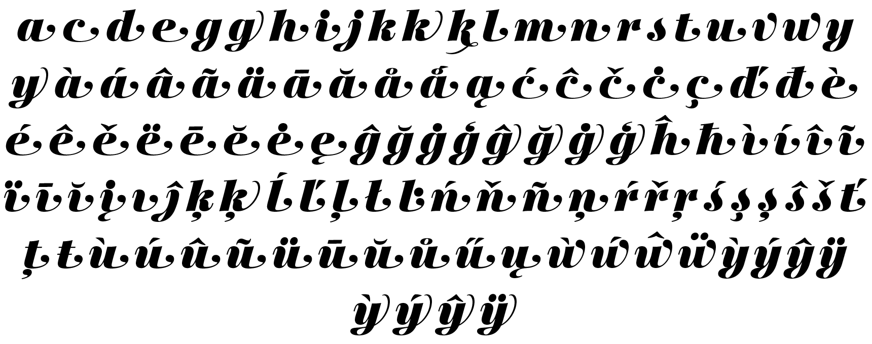 <p>Swash lowercase</p> glyphs